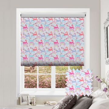 Unicorn Roller Blind in Patterned Premium Blackout Rainbow Unicorn Fabric